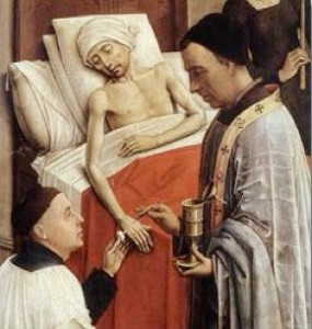 Detail of The Seven Sacraments (1445) by Roger van der Weyden showing the sacrament of Extreme Unction or Anointing of the Sick.